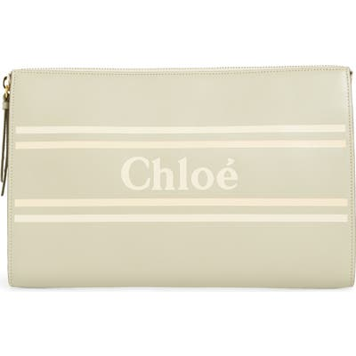 Chloe Vick Leather Zip Pouch - Grey