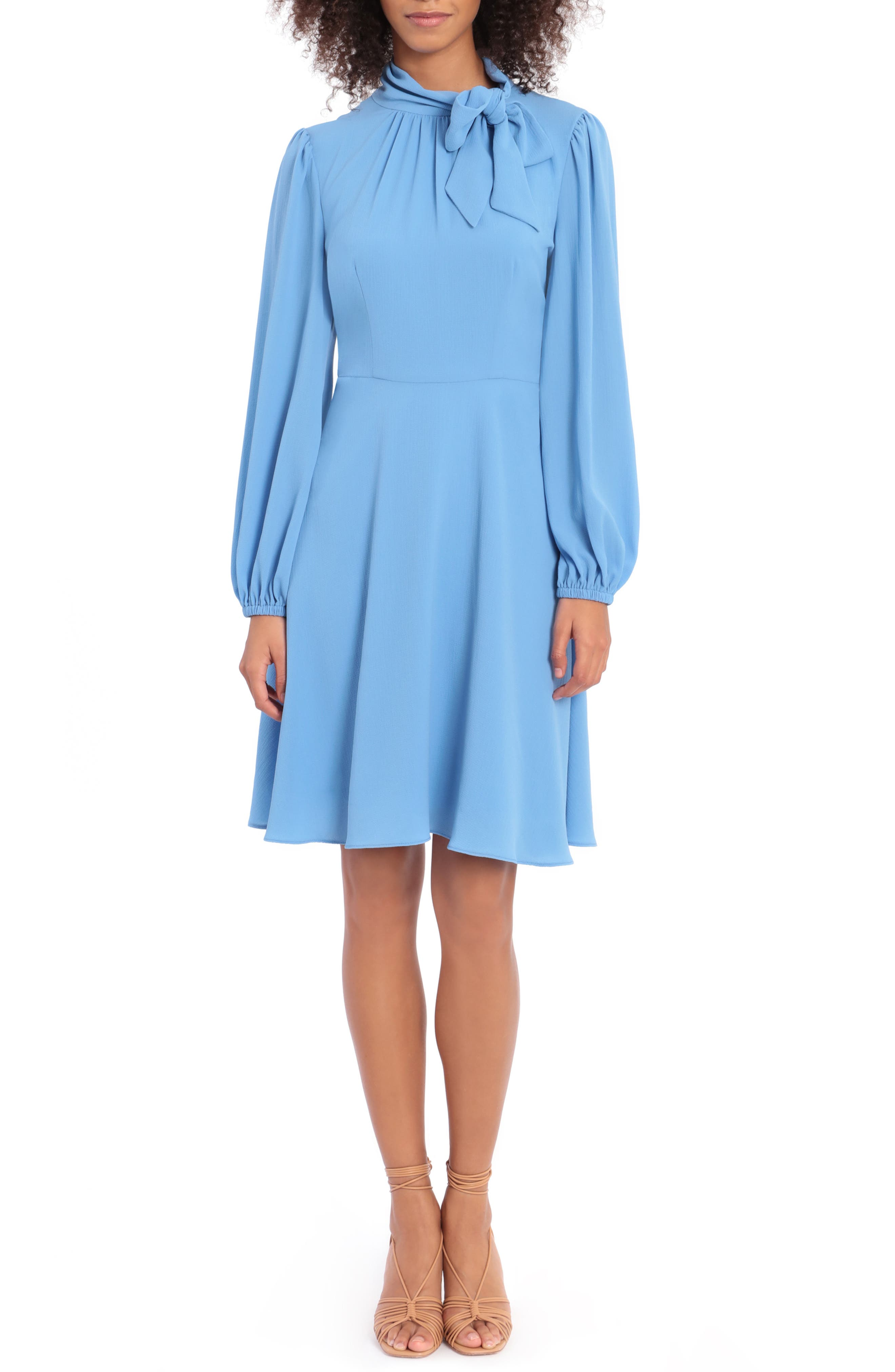 Catalina Tie Neck Long Sleeve Fit & Flare Crepe Dress