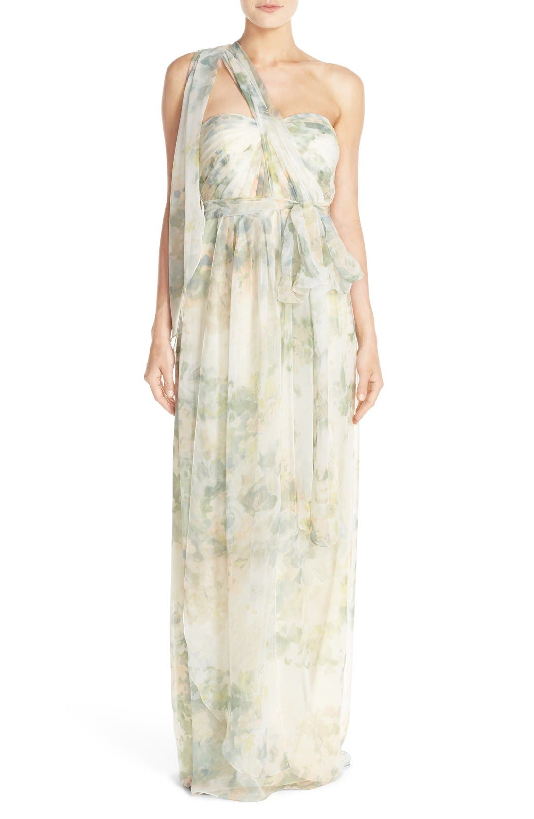 ,                             Nyla Floral Print Convertible Strapless Chiffon Gown,                             Alternate thumbnail 13, color,                             110