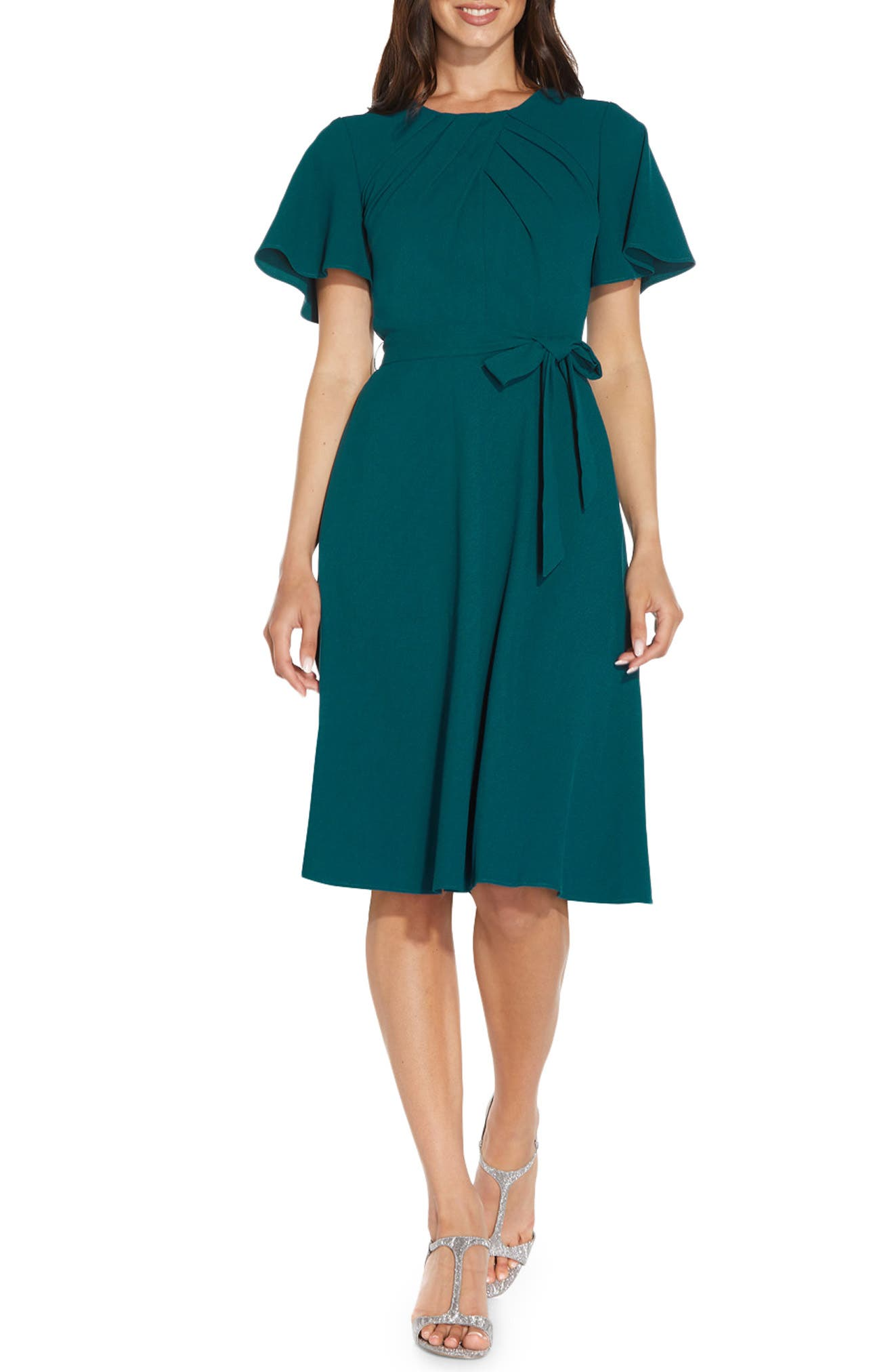 1940s Dresses   40s Dress, Swing Dress, Tea Dresses Womens Adrianna Papell Draped Divine Tie Waist Crepe A-Line Dress Size 14 - Bluegreen $149.00 AT vintagedancer.com