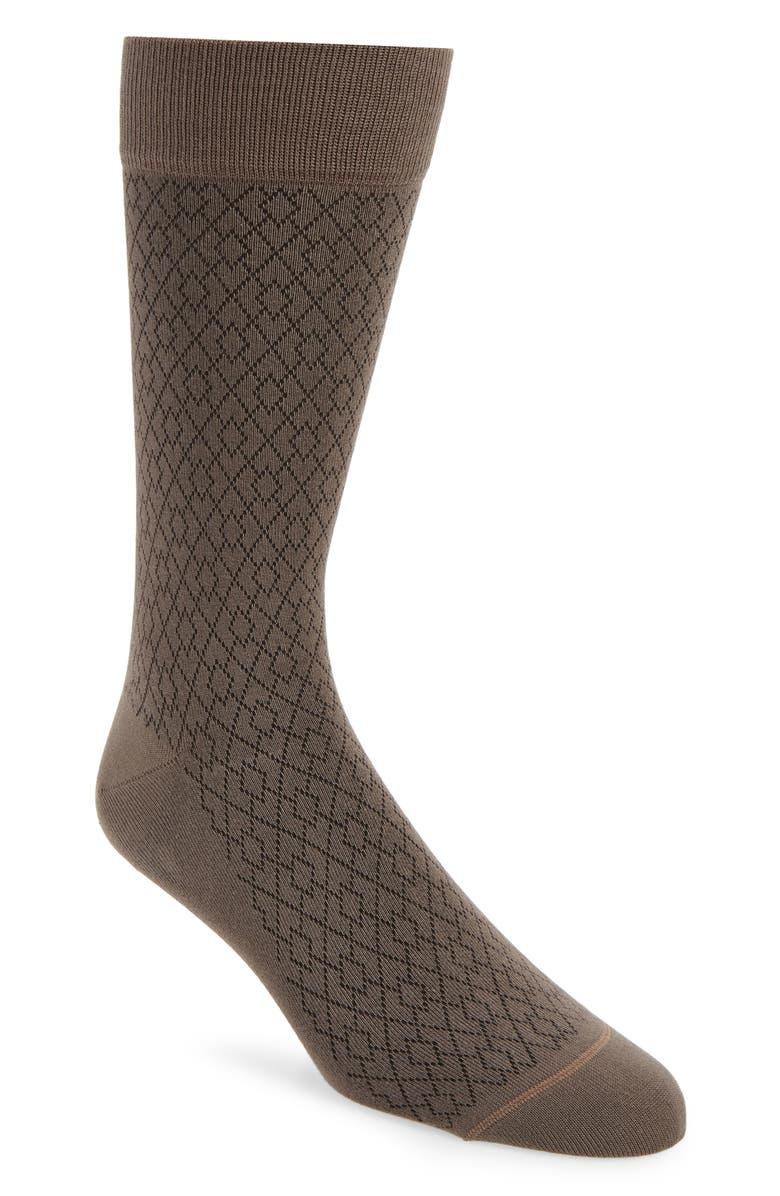 NORDSTROM SIGNATURE Diamond Dress Socks, Main, color, BROWN DEMITASSE