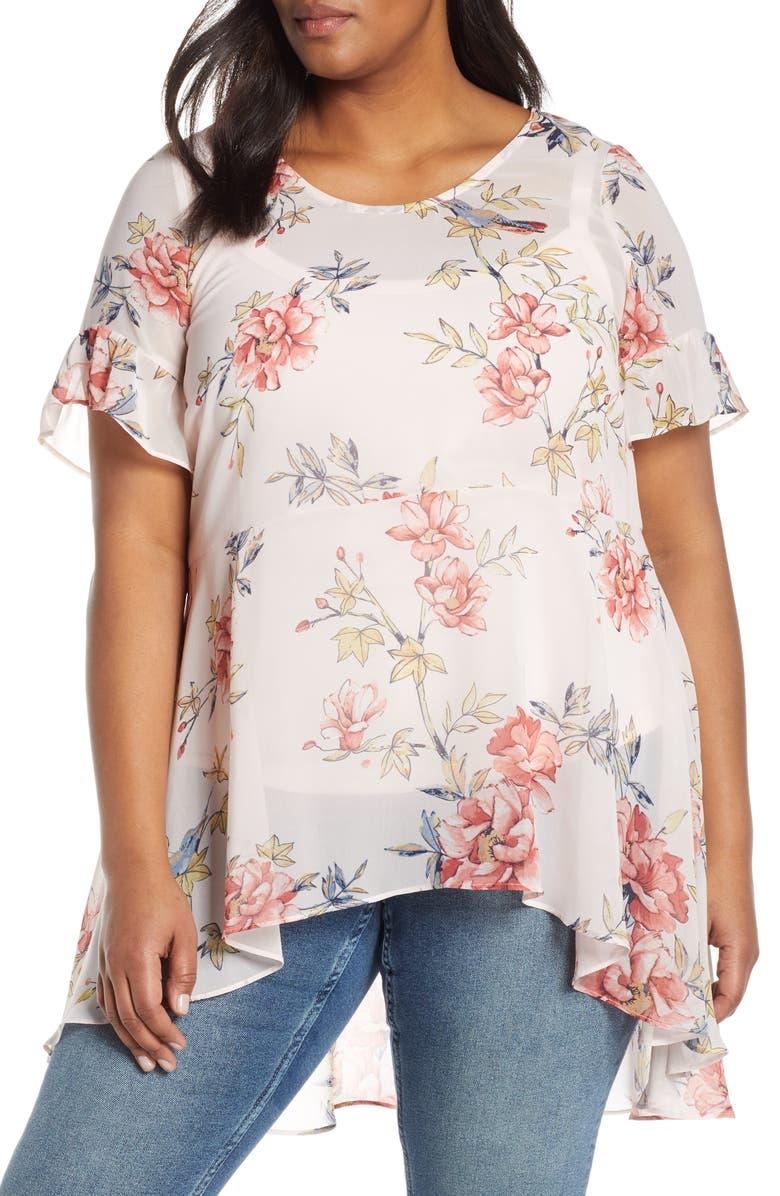 ESTELLE Songbird Floral High/Low Blouse, Main, color, PINK/ PINK