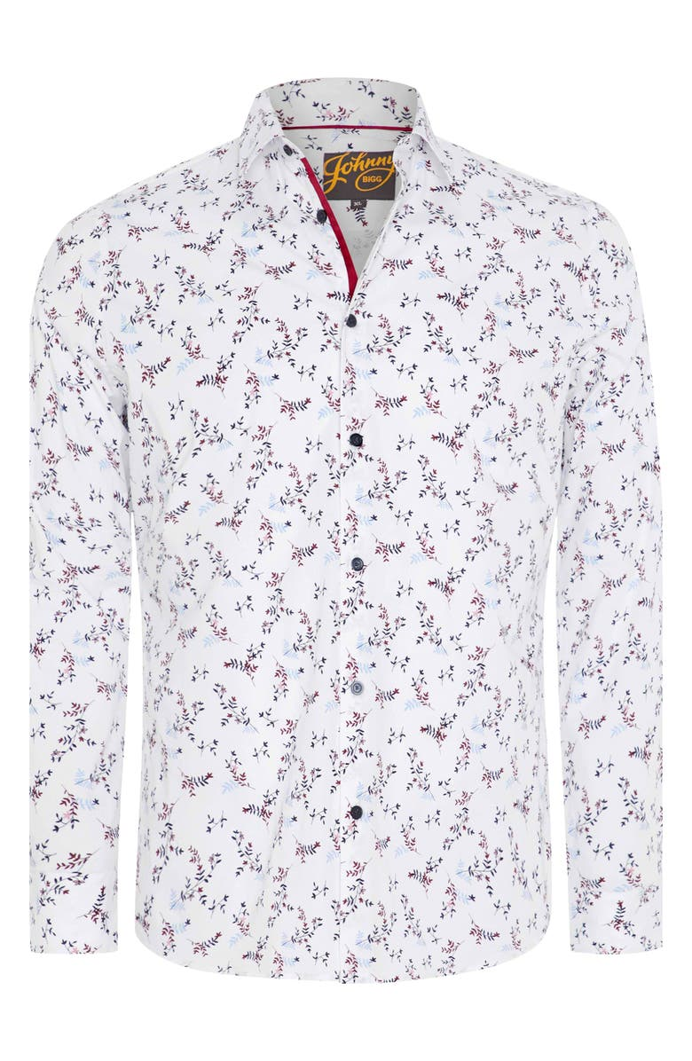 JOHNNY BIGG Wesley Regular Fit Floral Stretch Button-Up Shirt, Main, color, White