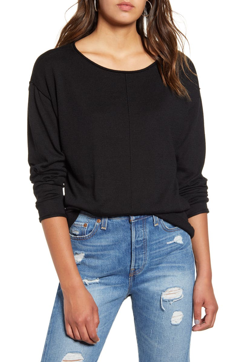 BP. High/Low Roll Edge Sweater, Main, color, BLACK