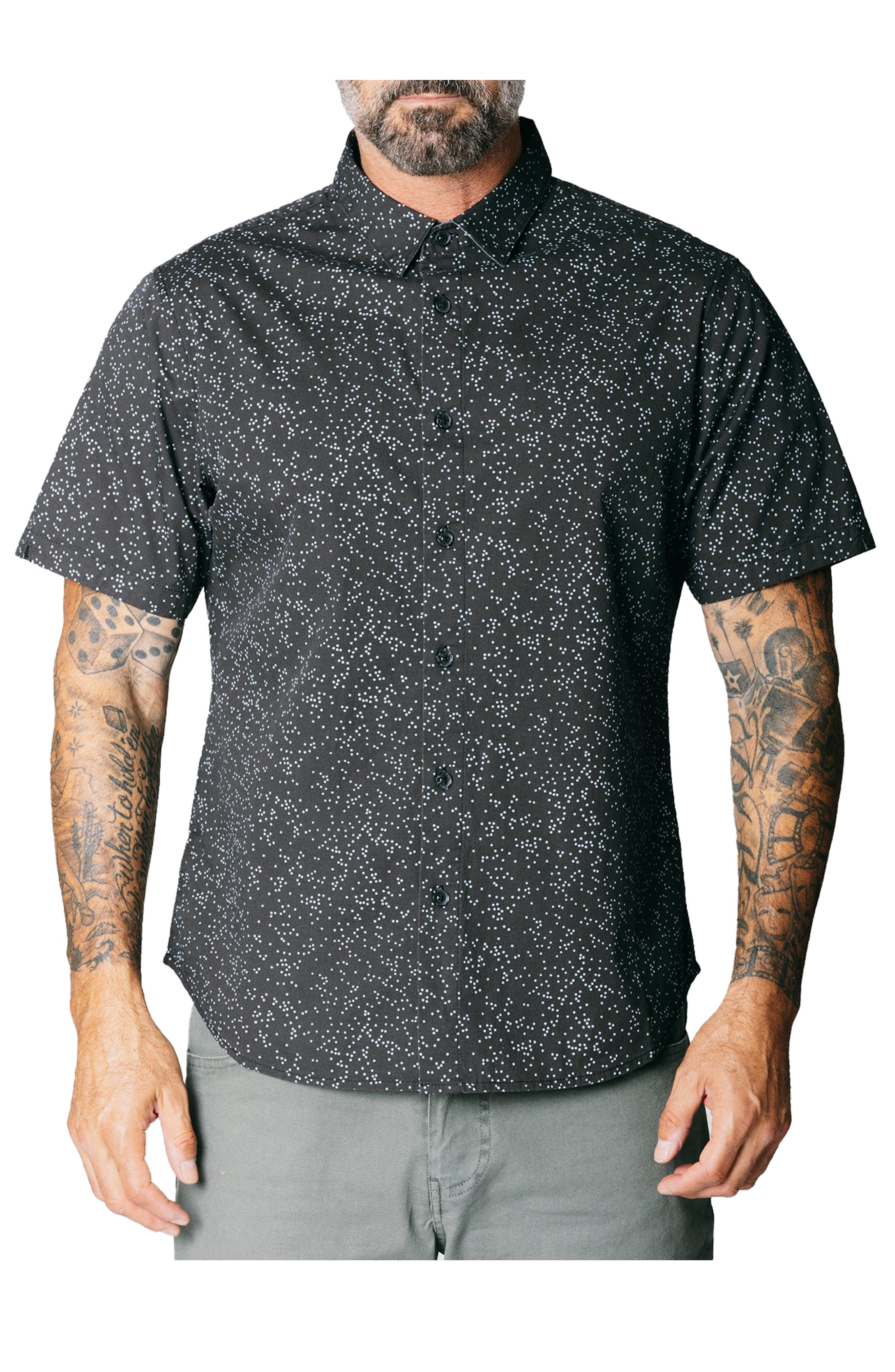 Oh Shore Dot Print Stretch Short Sleeve Button-Up Shirt