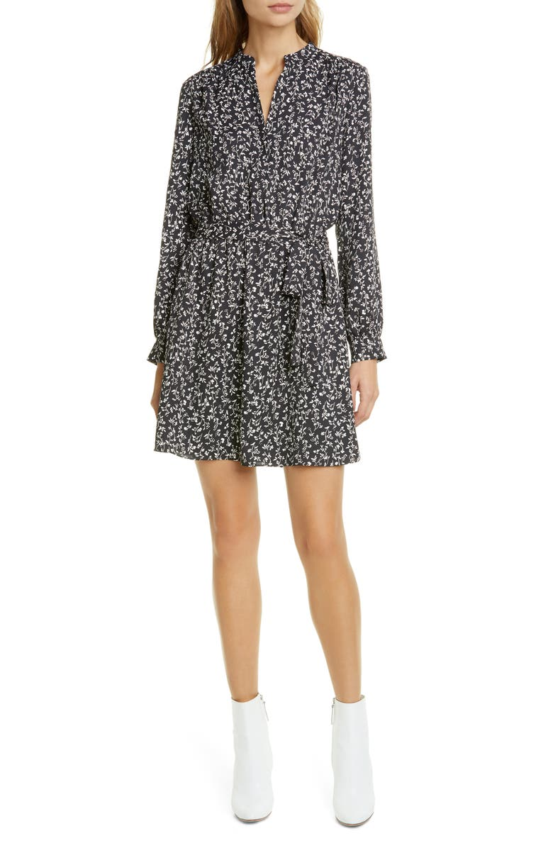 JOIE Leonore Belted Long Sleeve Dress, Main, color, CAVIAR