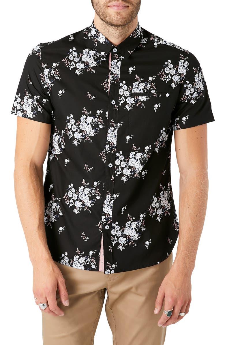 7 DIAMONDS Maze of Destiny Slim Fit Floral Short Sleeve Button-Up Shirt, Main, color, BLACK