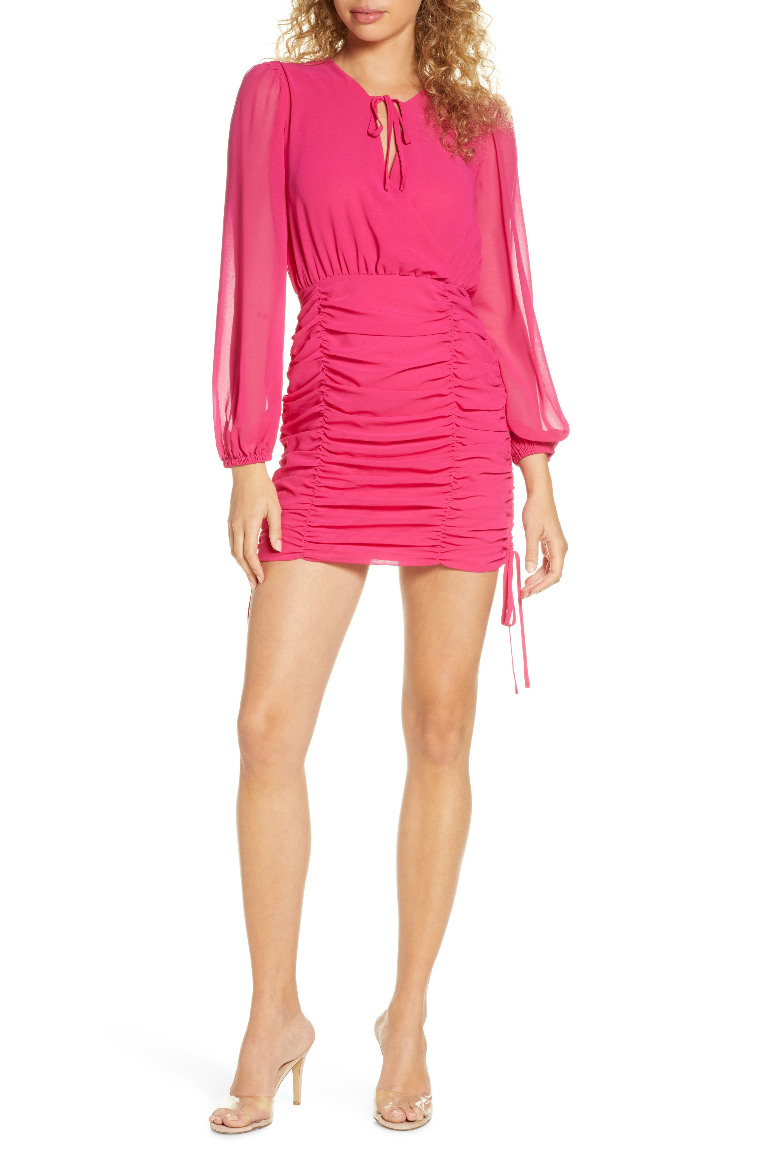 Finders Keepers Pia Ruched Long Sleeve Georgette Minidress