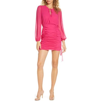 Finders Keepers Pia Ruched Long Sleeve Georgette Minidress, Pink