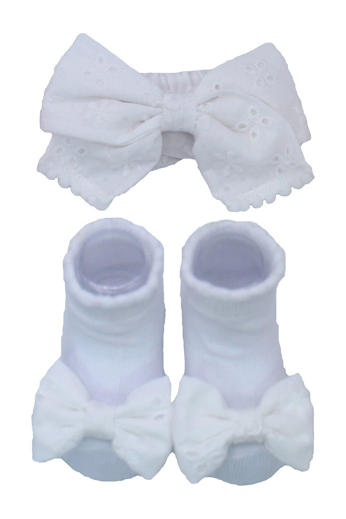 Image of Laura Ashley White Eyelet Bow Headband & Sock 2-Piece Set