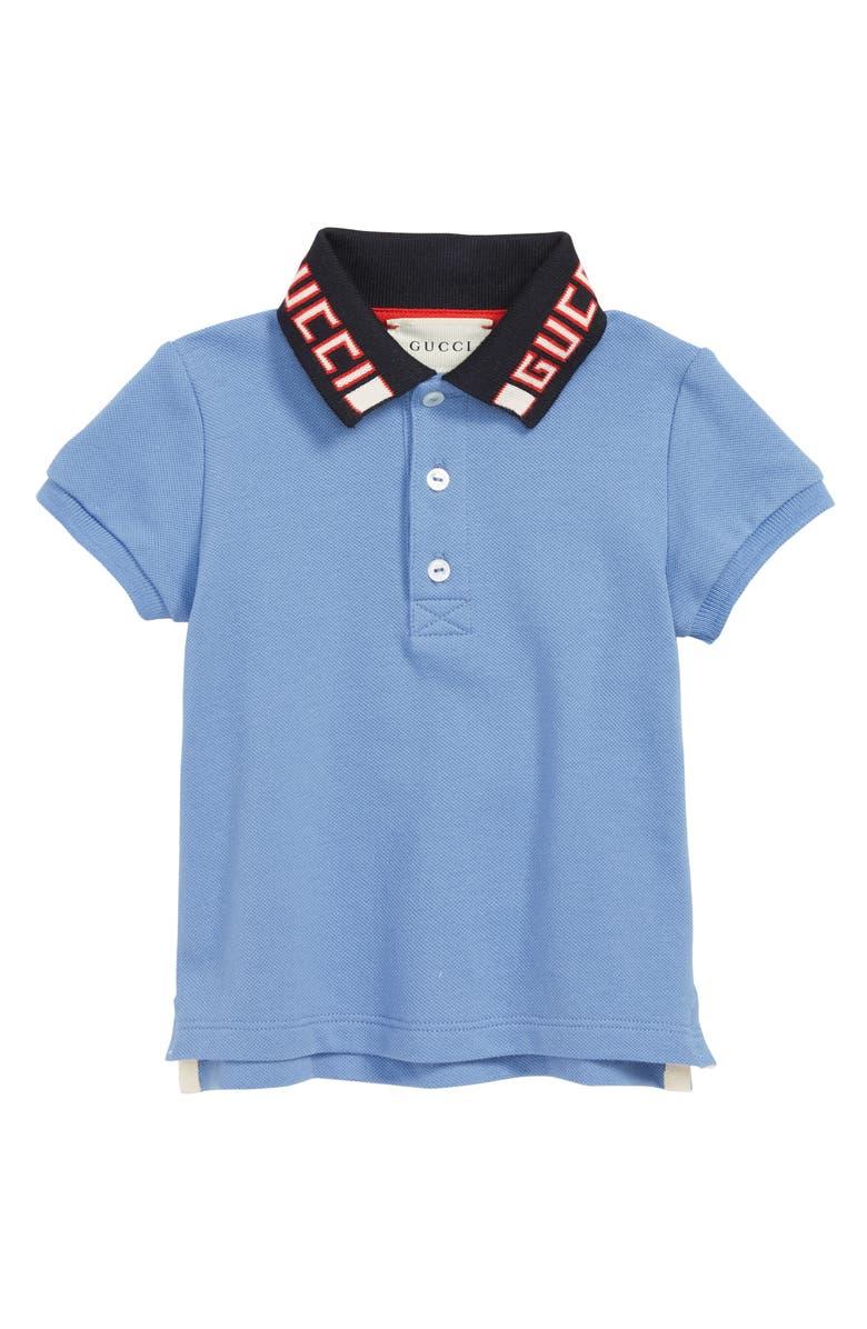 GUCCI Cotton Logo Collar Polo Shirt, Main, color, PARLOUR/ NAVY/ RED