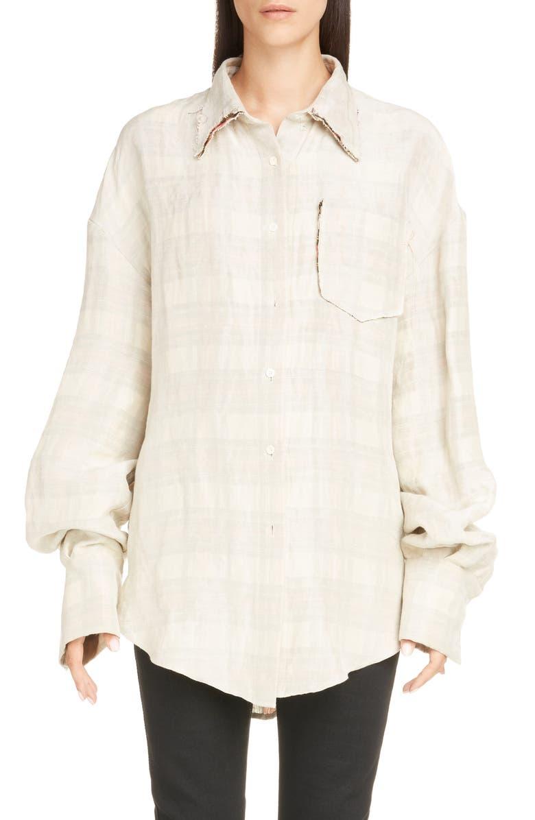 ACNE STUDIOS Sadira Check Linen Blend Shirt, Main, color, CREAM/ ORANGE