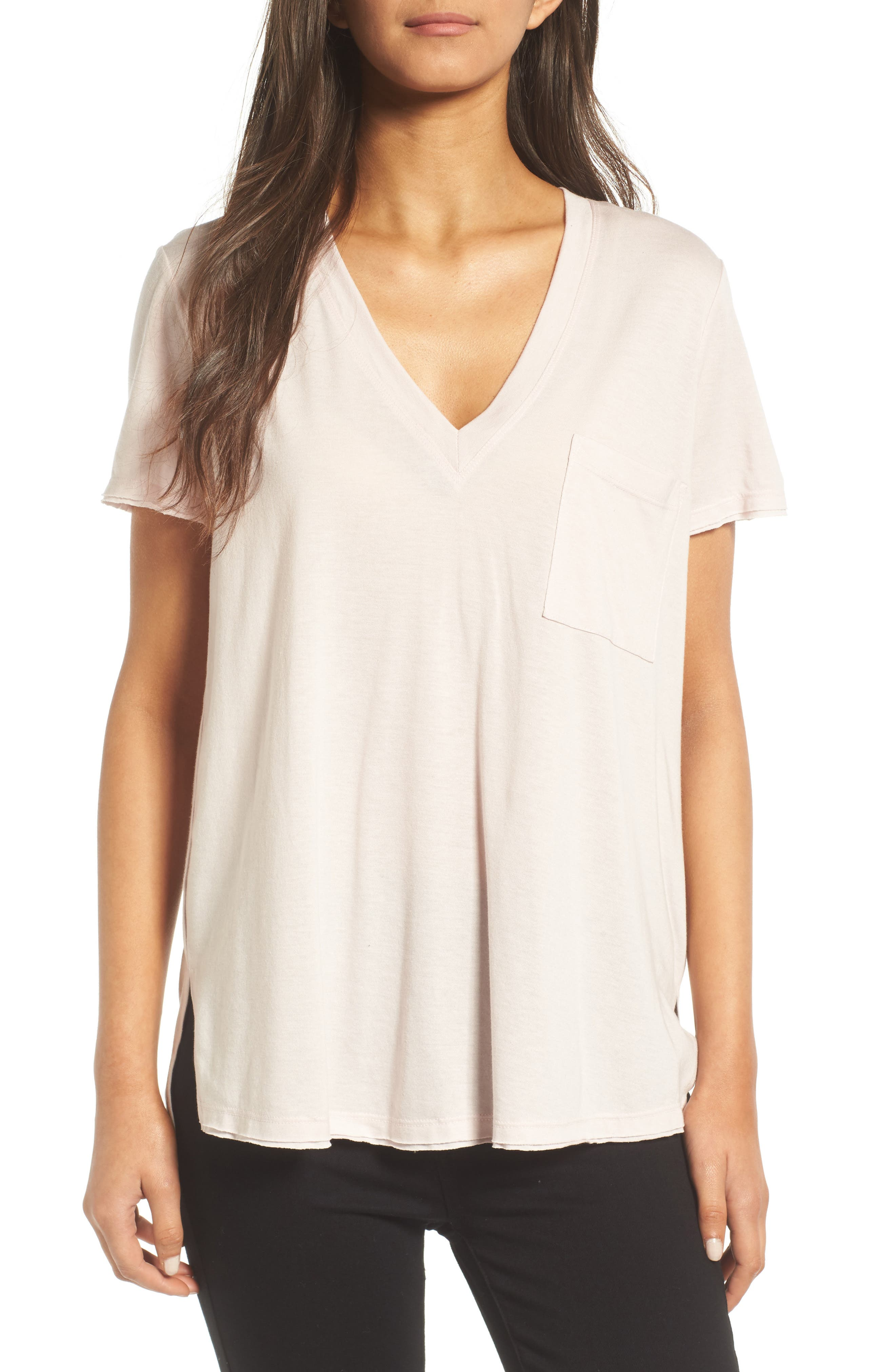 ,                             Raw Edge Side Slit Tee,                             Main thumbnail 13, color,                             680