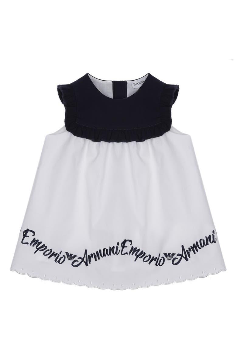 ARMANI JUNIOR Logo Embroidered Dress, Main, color, 100