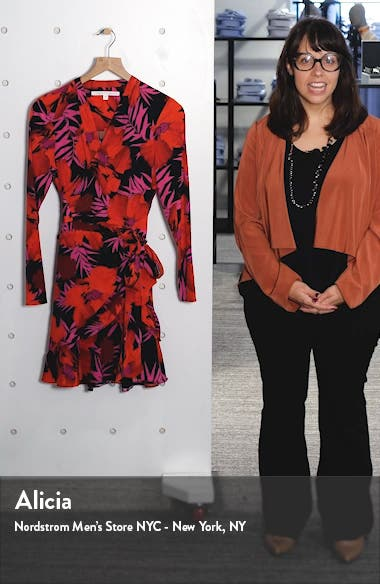 Lorina Floral Long Sleeve Silk Stretch Minidress, sales video thumbnail