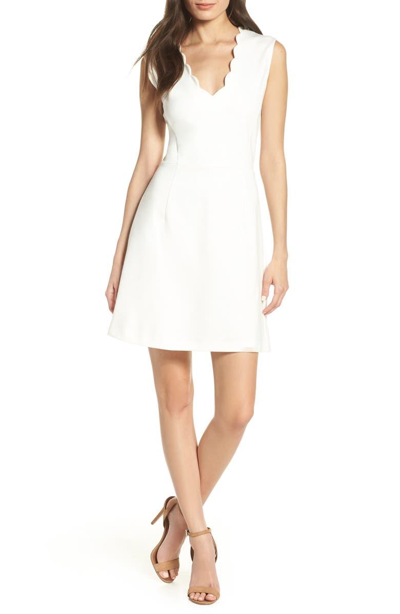 FRENCH CONNECTION Lula Sundae Scalloped Sheath Dress, Main, color, SUMMER WHITE