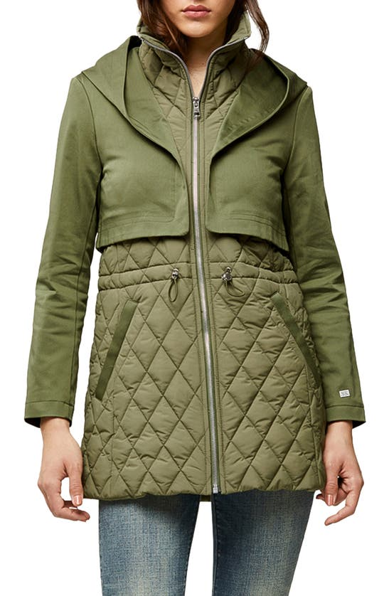 SOIA & KYO Trenchcoats ENORA MIX WATER REPELLENT QUILTED RAINCOAT