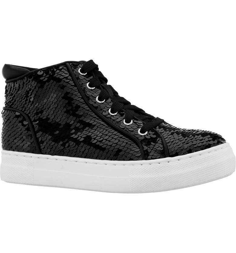 NINA Caroleen Reversible Sequin High Top Sneaker, Main, color, BLACK FLIP SEQUINS