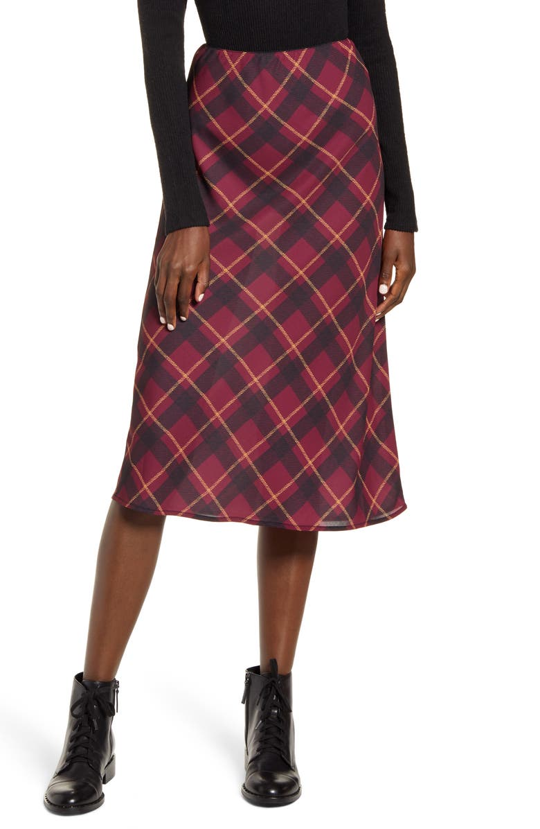 BAND OF GYPSIES Plaid Midi Slip Skirt, Main, color, PLUM BLACK