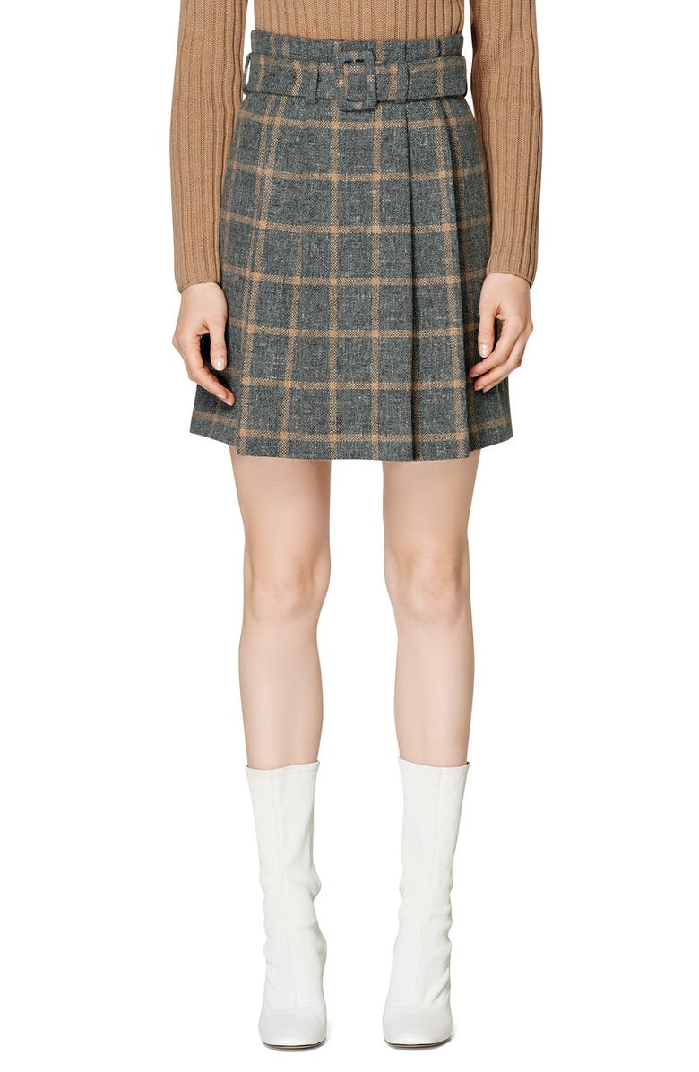 SUISTUDIO Echo Plaid Pleated Alpaca & Wool Blend Miniskirt, Main, color, GREY/ CAMEL CHECK