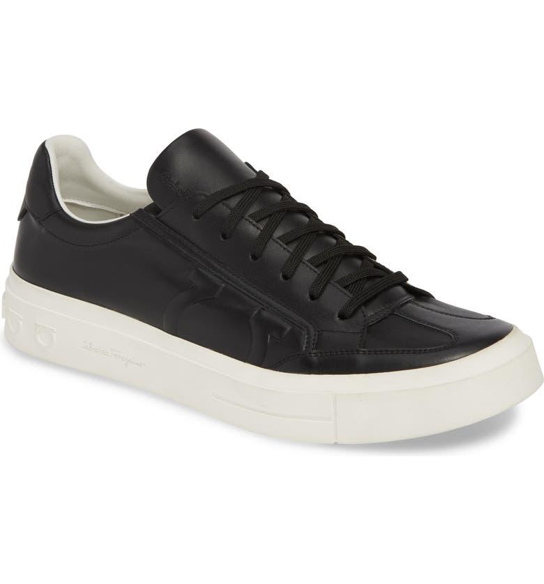 SALVATORE FERRAGAMO Borg Sneaker, Main, color, BLACK/ WHITE