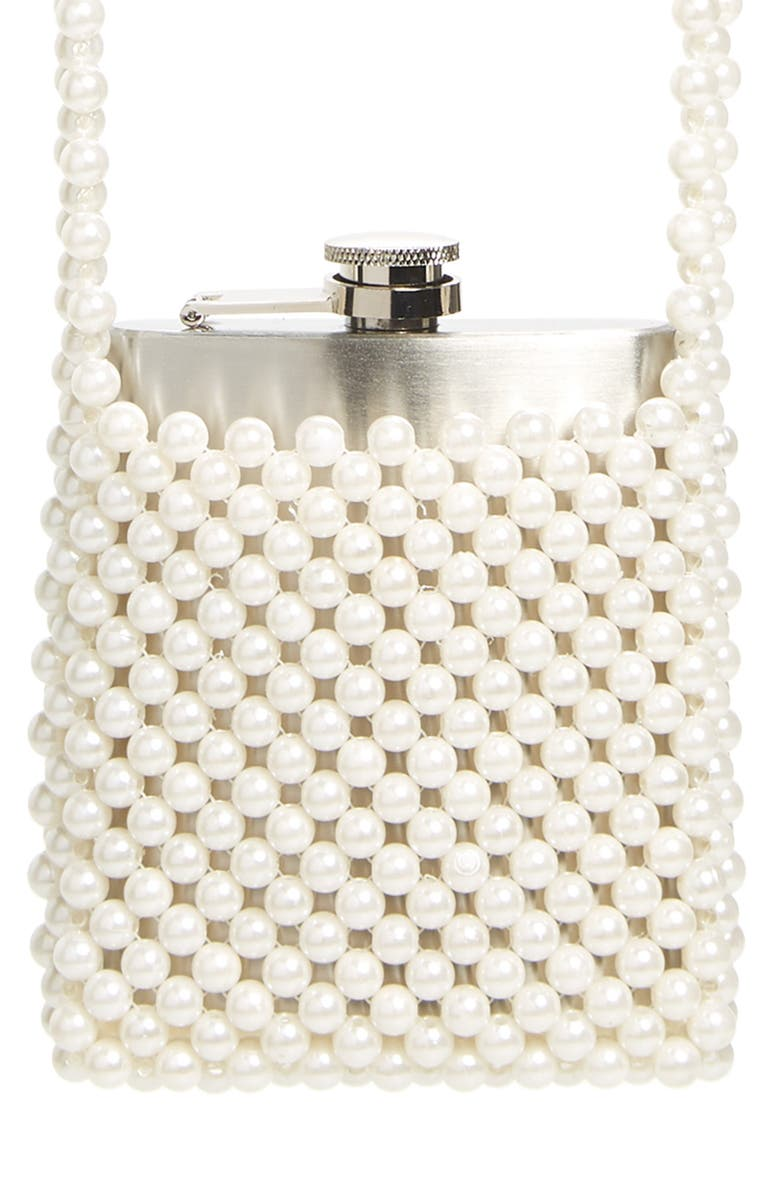 SKINNYDIP Imitation Pearl Flask Holder Crossbody Bag, Main, color, IVORY