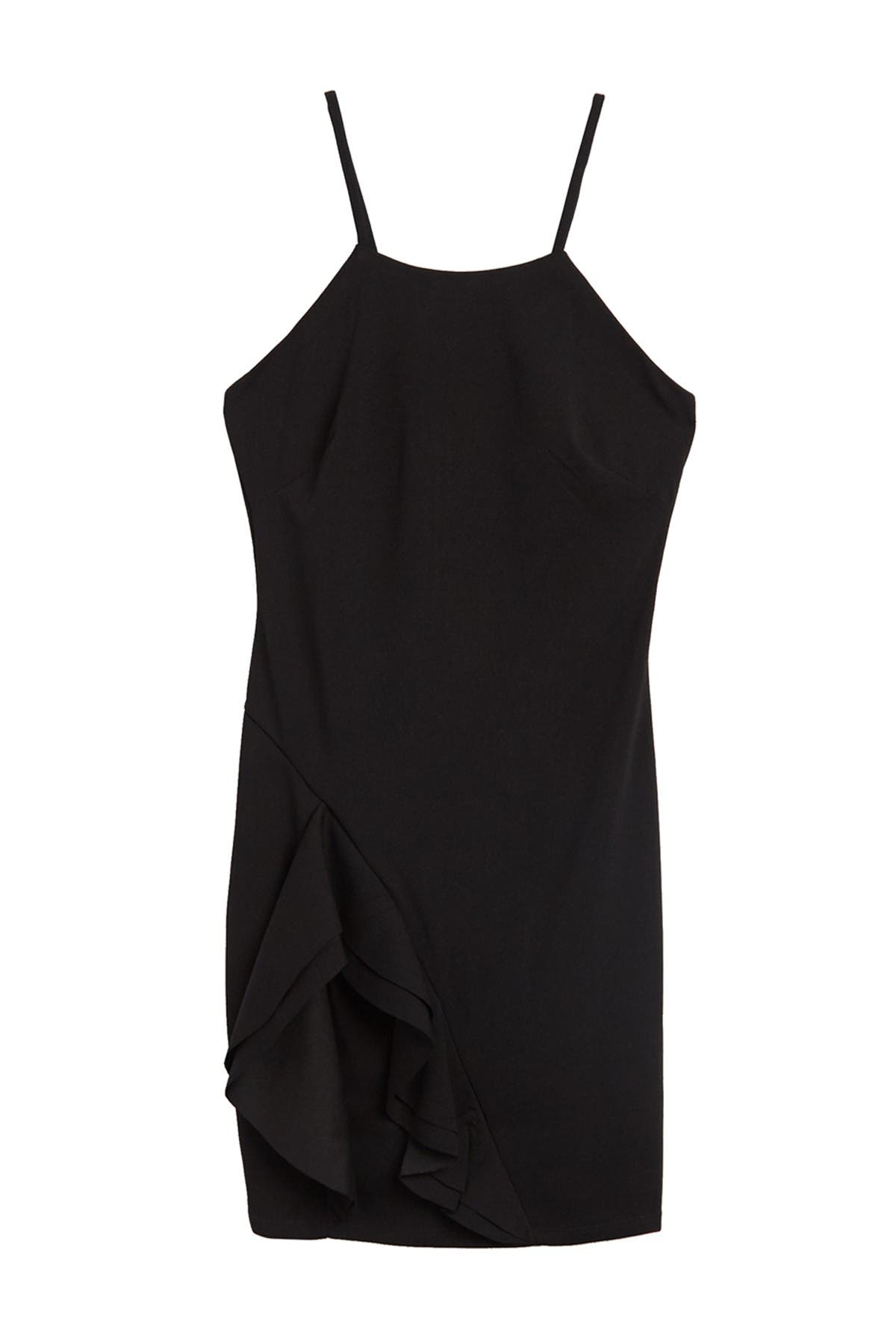 Image of bebe Halter Neck Crepe Sheath Dress