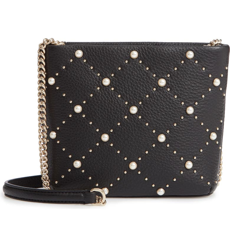 7a7e3b3f6126 hayes street - ellery imitation pearl studded leather crossbody bag, Main,  color, 001