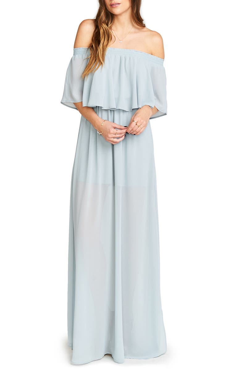 Hacienda Convertible Gown, Main, color, STEEL BLUE