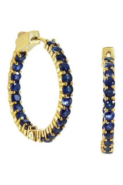Image of Savvy Cie 18K Gold Vermeil Sterling Silver Sapphire 30mm Hoop Earrings