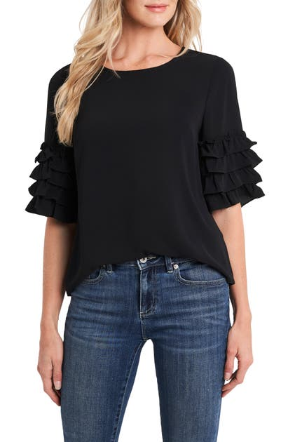 Cece TIERED RUFFLE SLEEVE BLOUSE