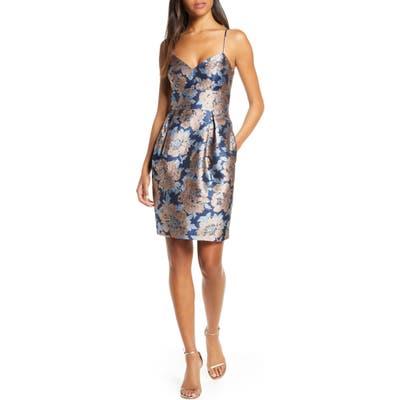 Eliza J Metallic Floral Jacquard Cocktail Dress, Blue