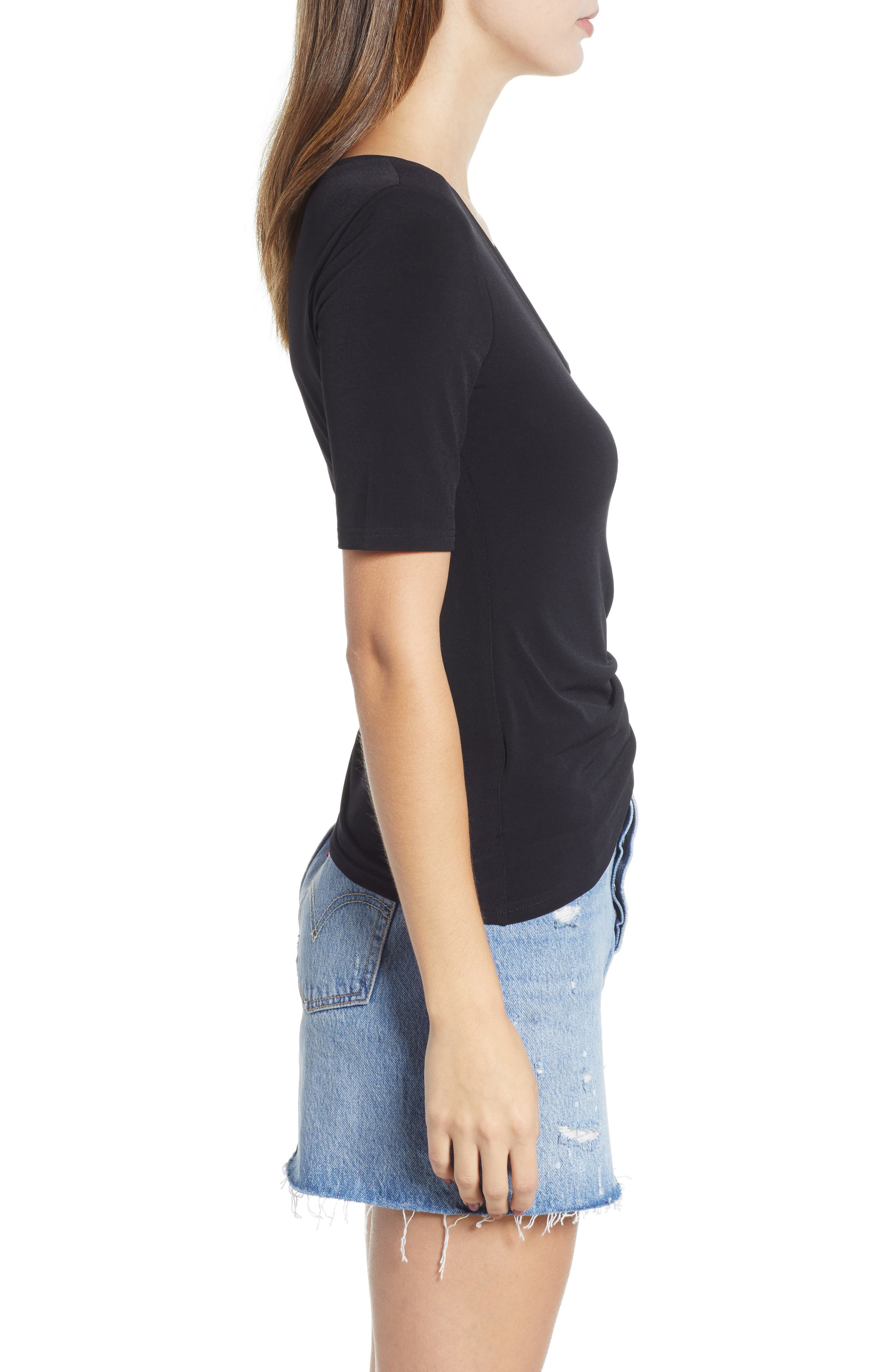 ,                             Ruched Side Tee,                             Alternate thumbnail 3, color,                             BLACK