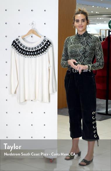 Embellished Yoke Cotton Blend Sweater, sales video thumbnail
