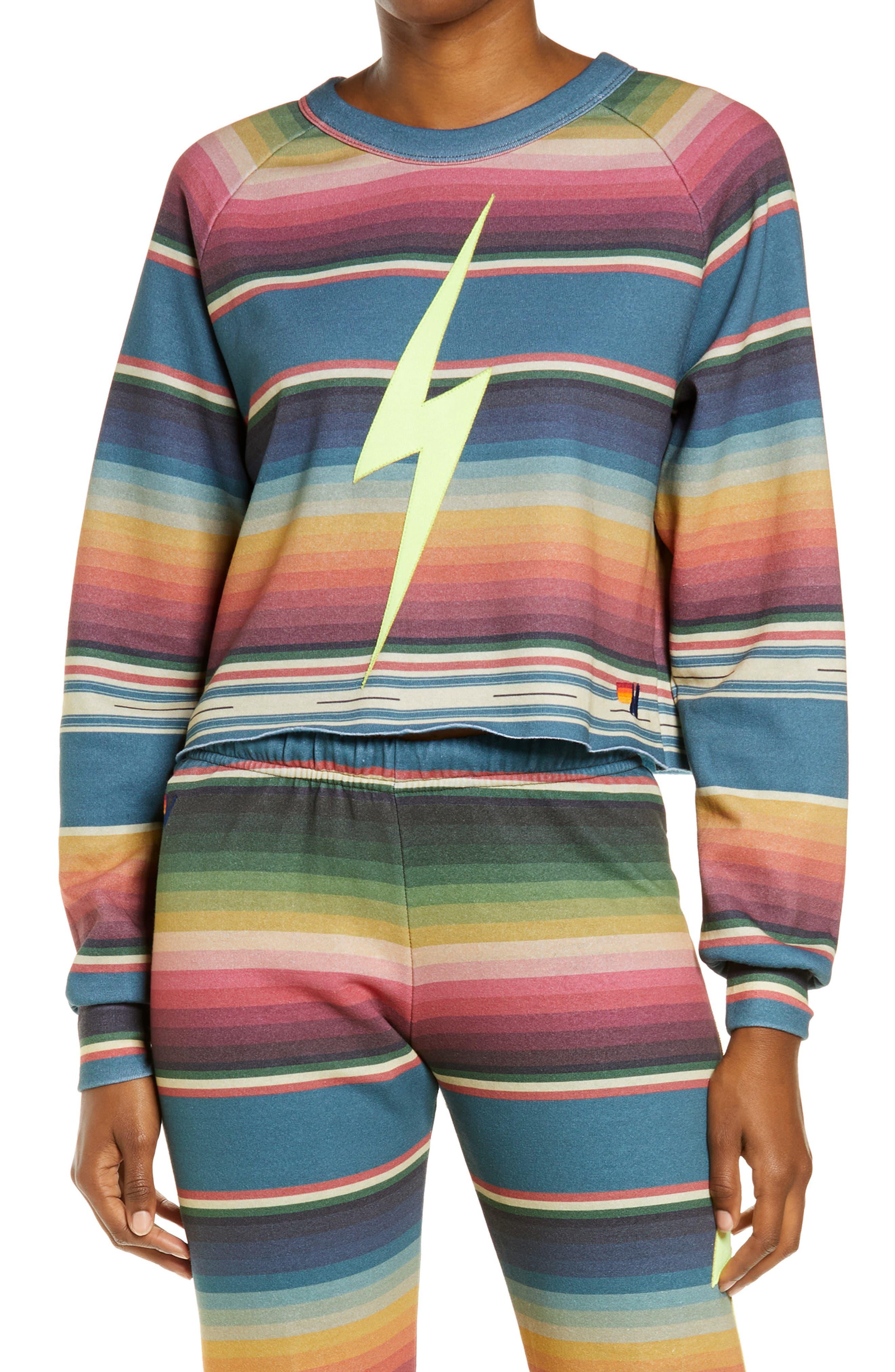 Women's Serape Bolt Stitch Crop Sweatshirt
