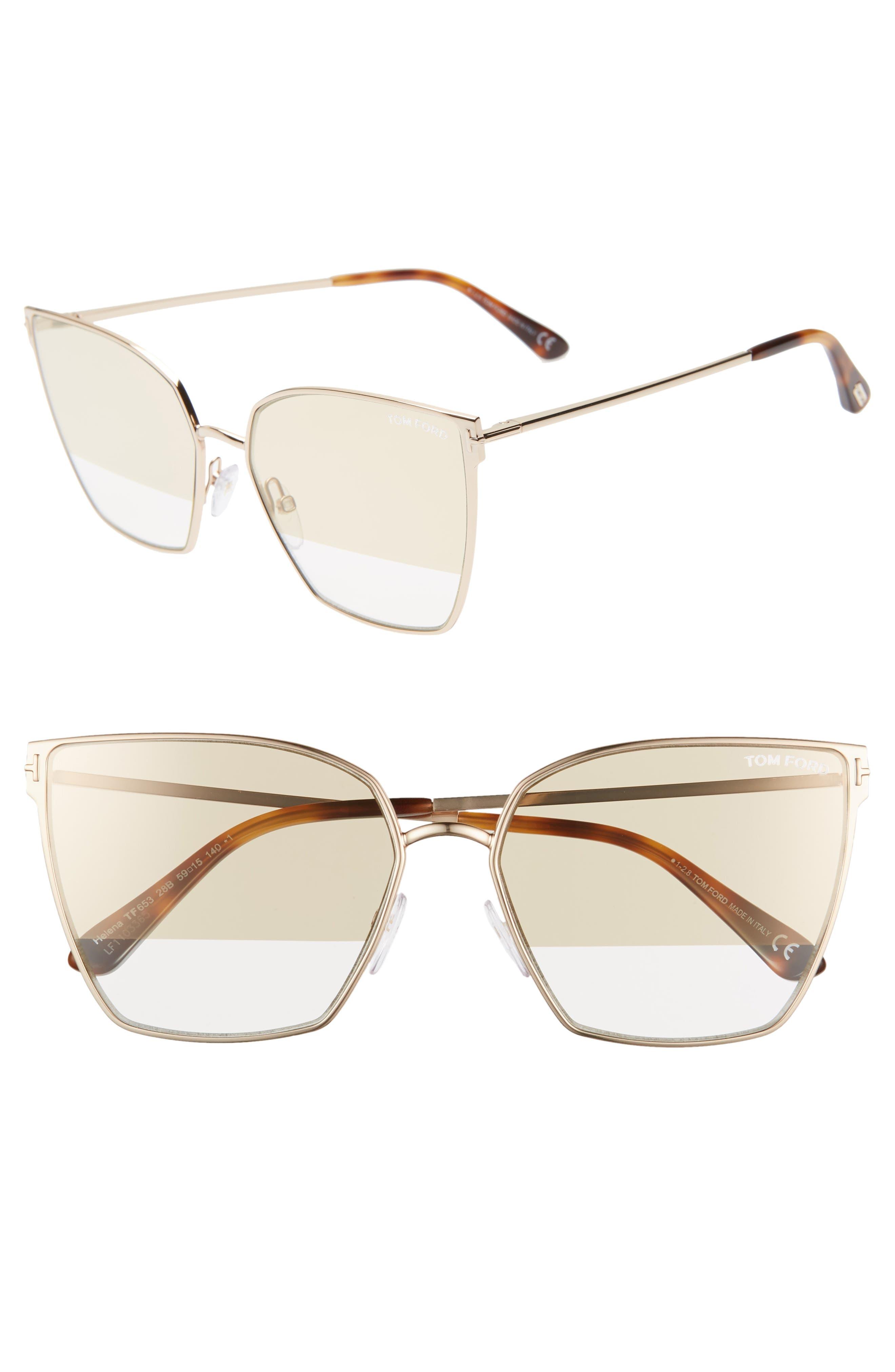 Image of Tom Ford Helena 59mm Cat Eye Sunglasses