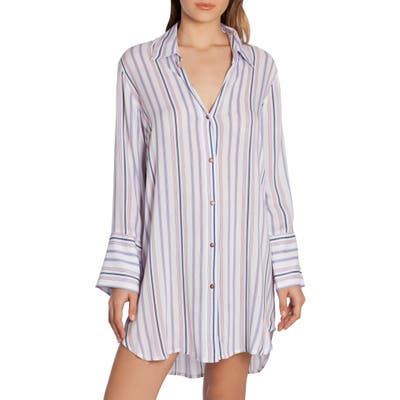 Midnight Bakery Stripe Sleep Shirt, Ivory