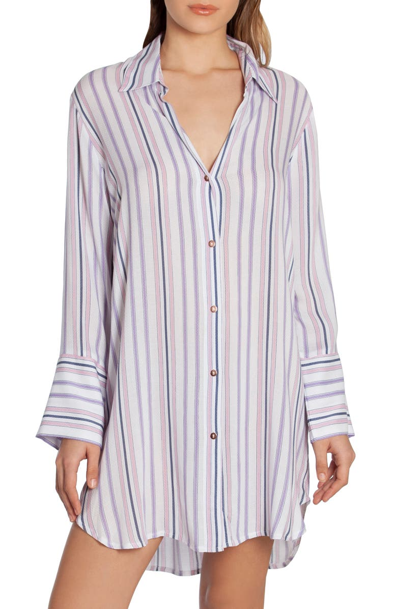 MIDNIGHT BAKERY Stripe Sleep Shirt, Main, color, 900