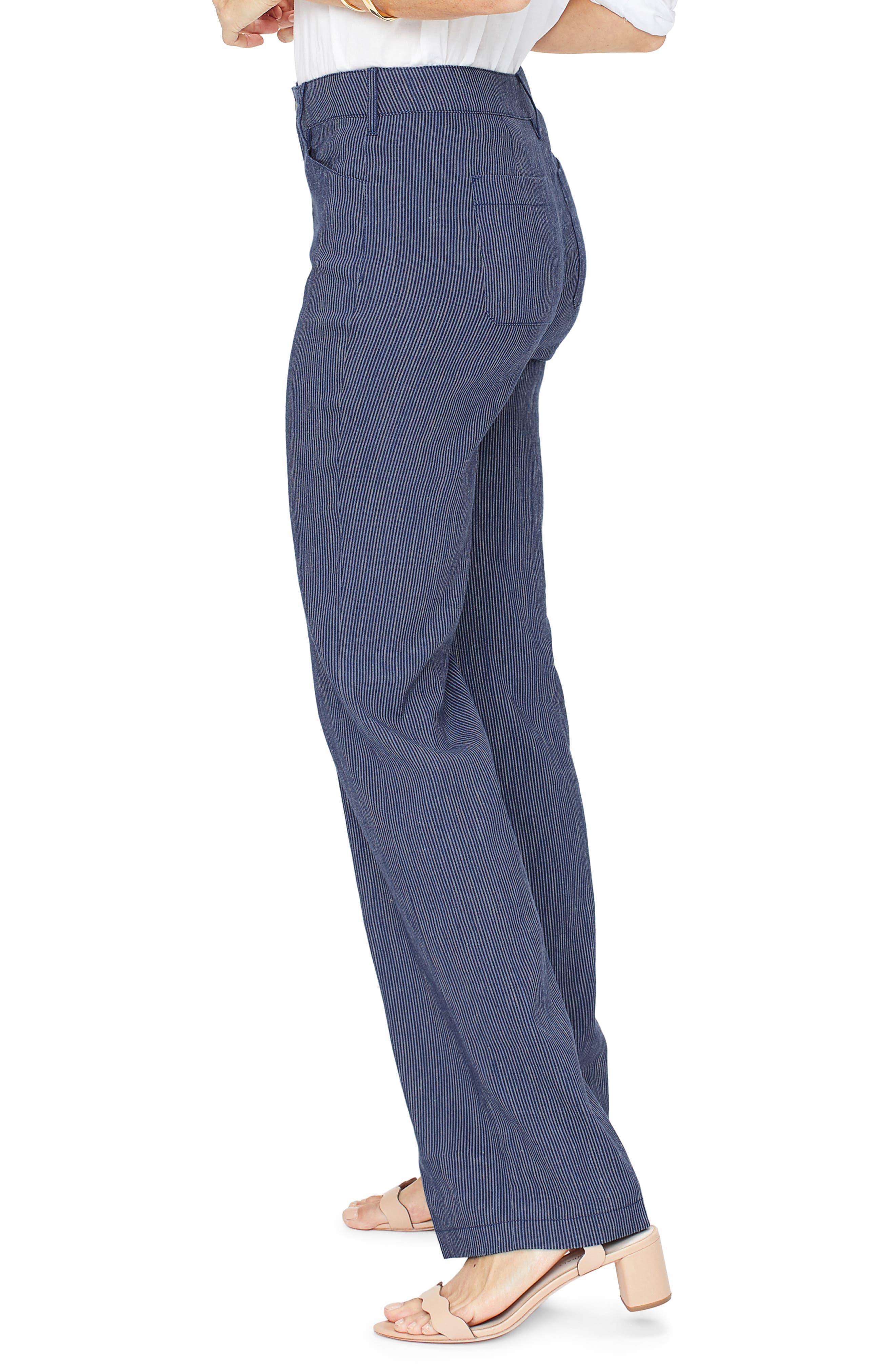 ,                             The Trouser Linen Blend Pants,                             Alternate thumbnail 4, color,                             AGUA STRIPE