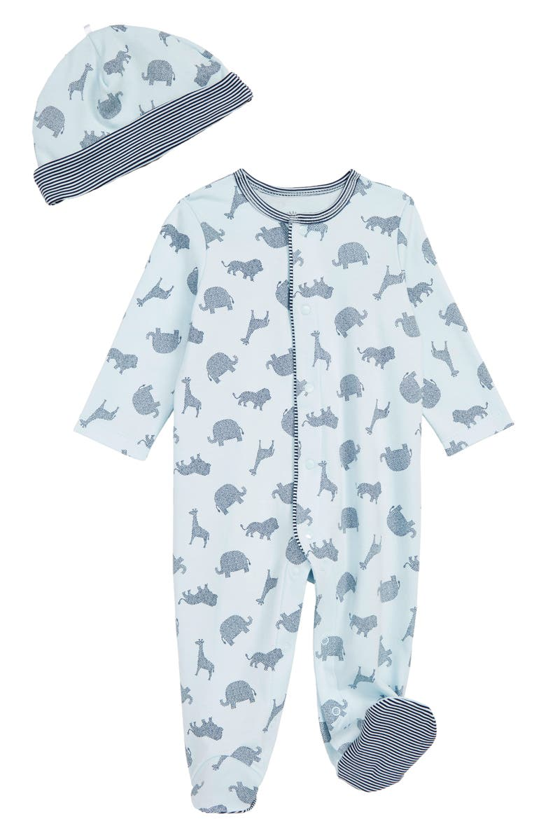LITTLE ME Dot Animals Footie & Hat Set, Main, color, BLUE
