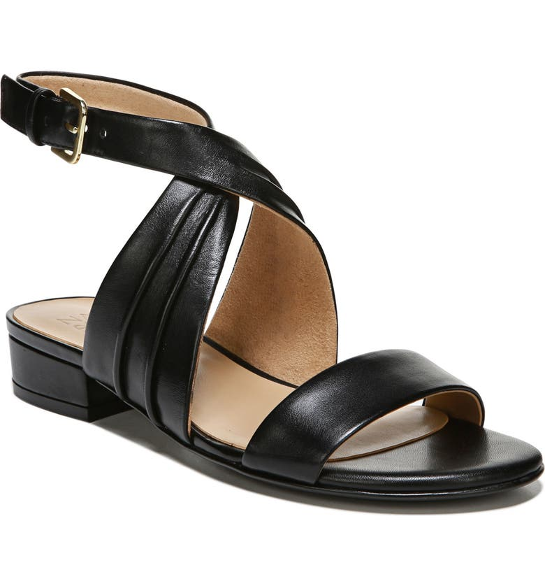 NATURALIZER Maddy Ankle Strap Sandal, Main, color, BLACK LEATHER