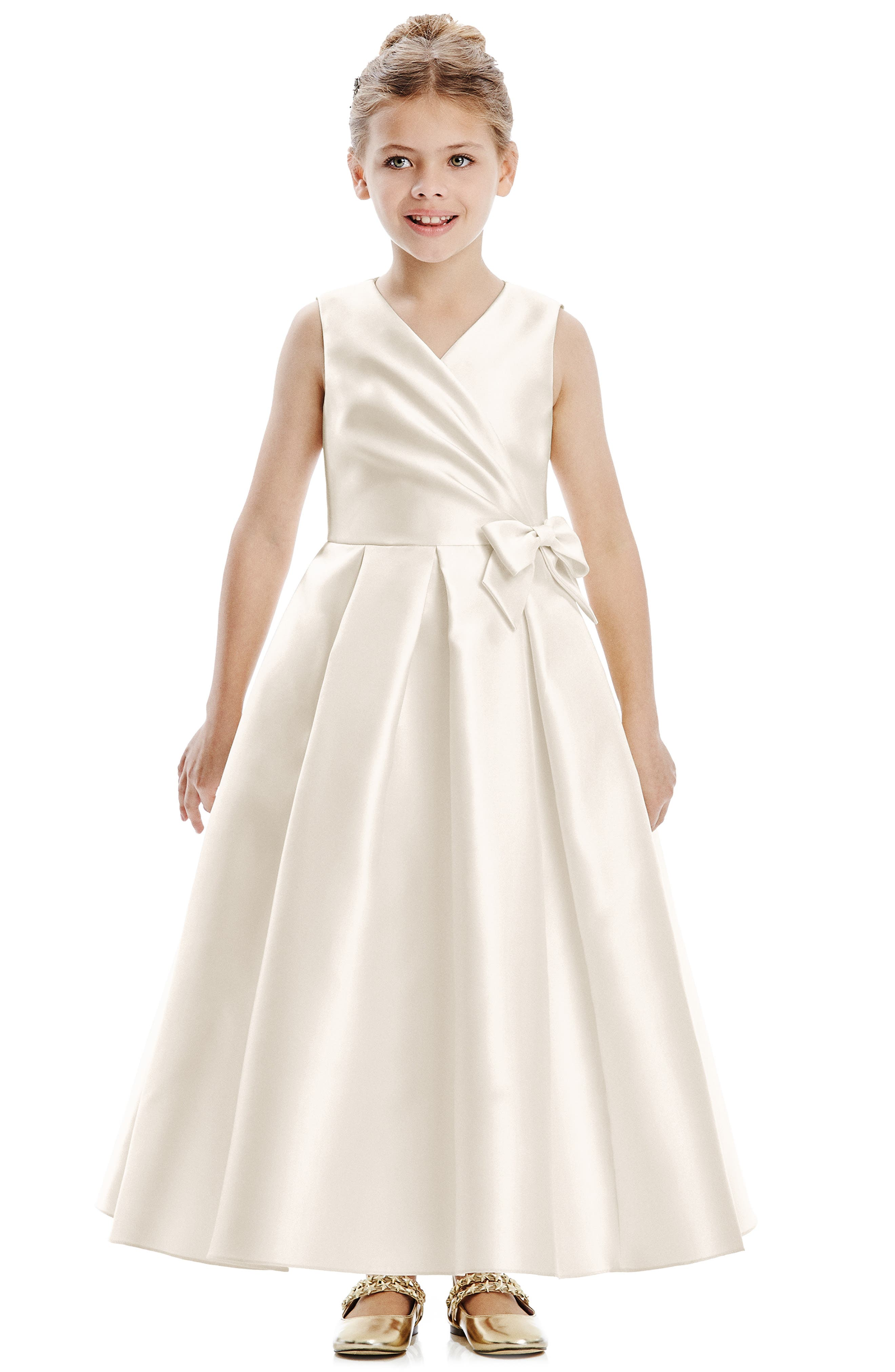 A dainty bow highlights the surplice neckline of an irresistibly sweet flower-girl dress finished with a full, perfectly pleated skirt. Style Name: Dessy Collection Flower Girl Dress (Toddler, Little Girl & Big Girl). Style Number: 6071891. Available in stores.