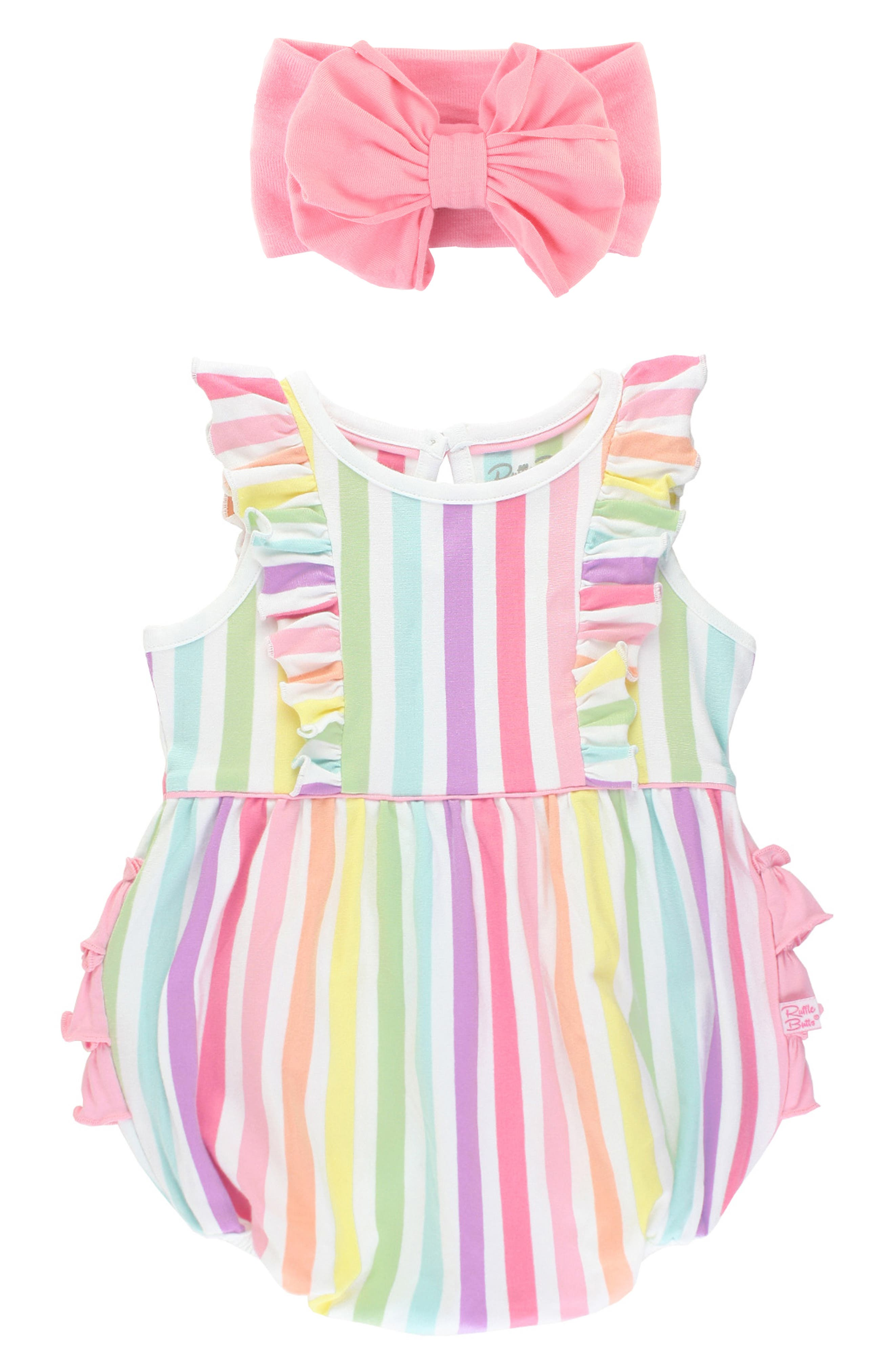 Colorful rainbow stripes and contrast ruffles dial up the cute factor on this bubble romper, while a matching head wrap sends the look into adorable overdrive. Style Name: Rufflebutts Rainbow Stripe Bubble Romper & Bow Head Wrap Set (Baby). Style Number: 6036378. Available in stores.