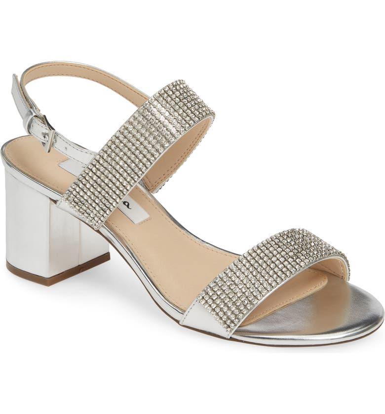NINA Naomi Crystal Embellished Sandal, Main, color, SILVER FAUX LEATHER