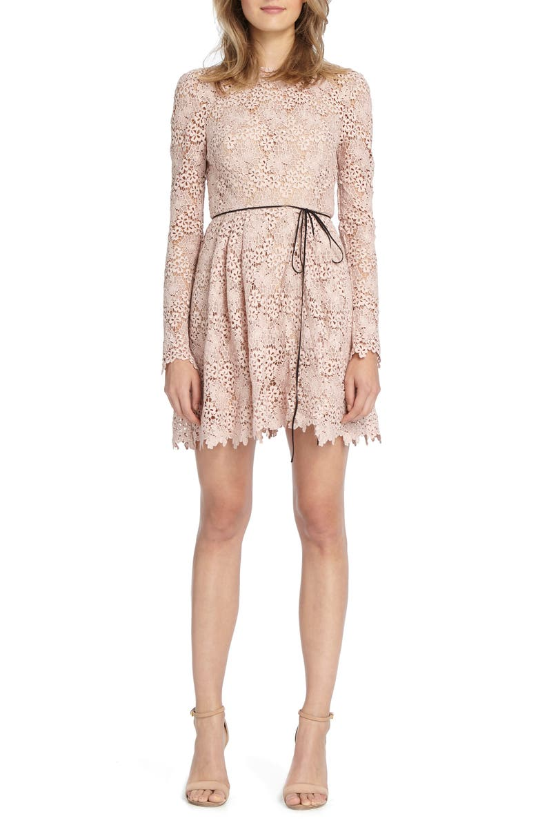 ML MONIQUE LHUILLIER Lace Minidress, Main, color, BLUSH