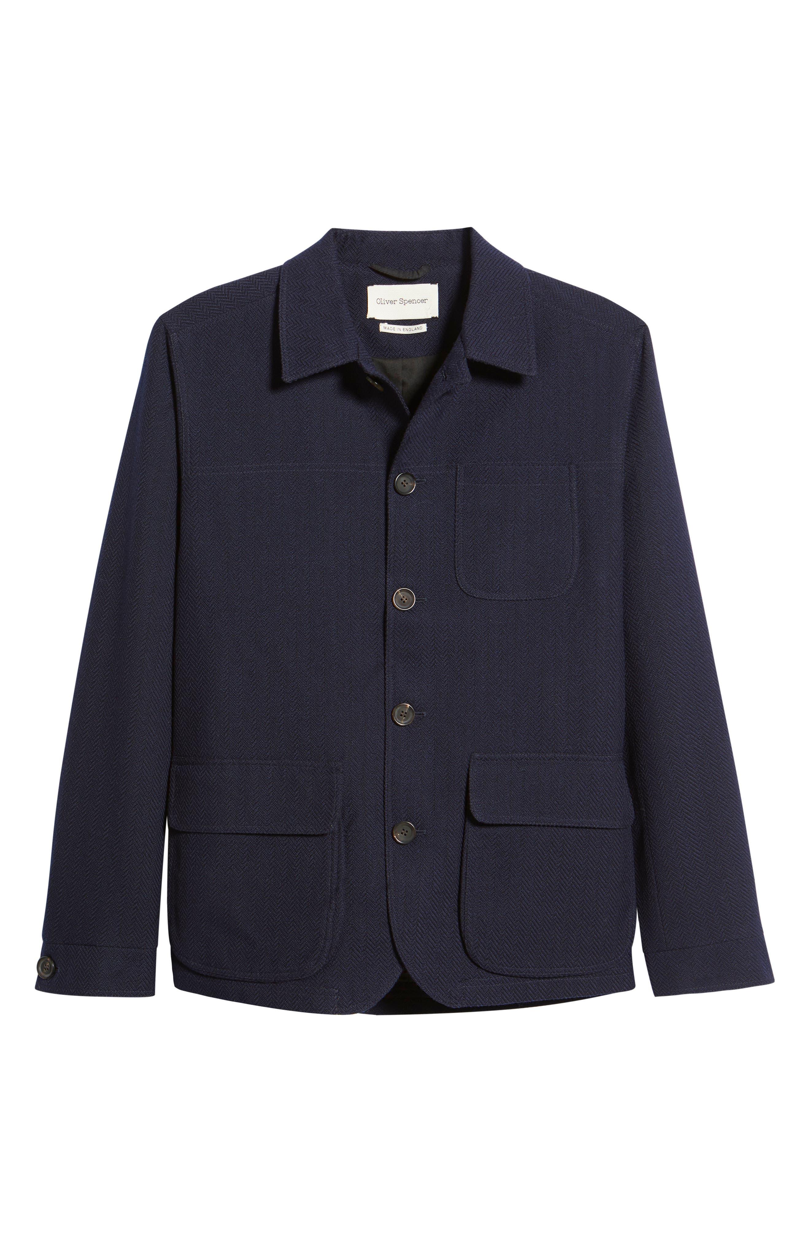 1900s Edwardian Men's Suits and Coats Oliver Spencer Pathfinder Shirt Jacket Size 38 in Navy at Nordstrom $595.00 AT vintagedancer.com