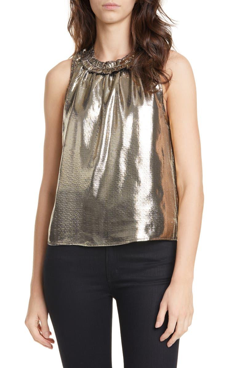 DOLAN Prasong Ruffle Neck Metallic Silk Sleeveless Blouse, Main, color, GOLD