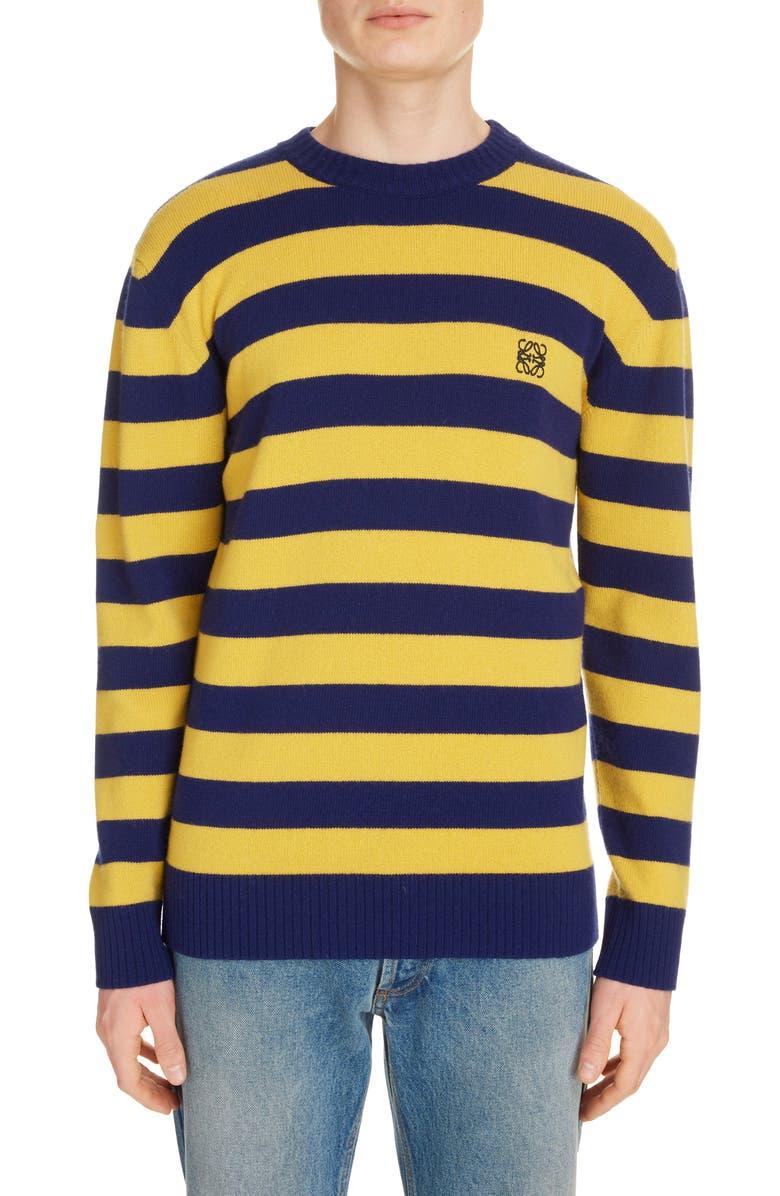 LOEWE Anagram Crewneck Stripe Wool & Cashmere Sweater, Main, color, NAVY/ YELLOW