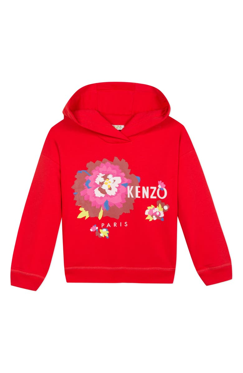 KENZO Flower Graphic Hoodie, Main, color, BRICK