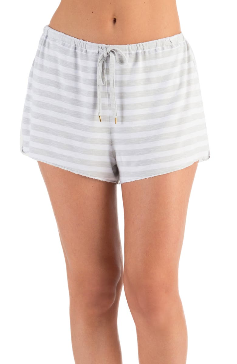 HONEYDEW INTIMATES French Terry Lounge Shorts, Main, color, HEATHER GREY STRIPE